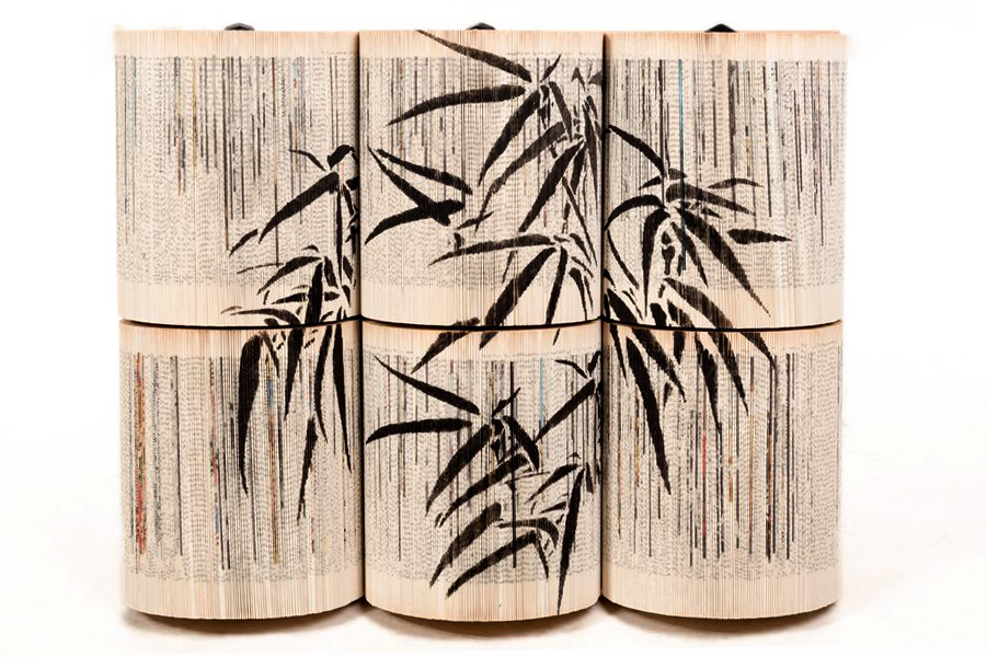 CRIZU_FOLDED_BOOKS_PAPER_SCULPTURE_DESIGN_HAND_MADE_ITALY_BAMBOO_BLACK